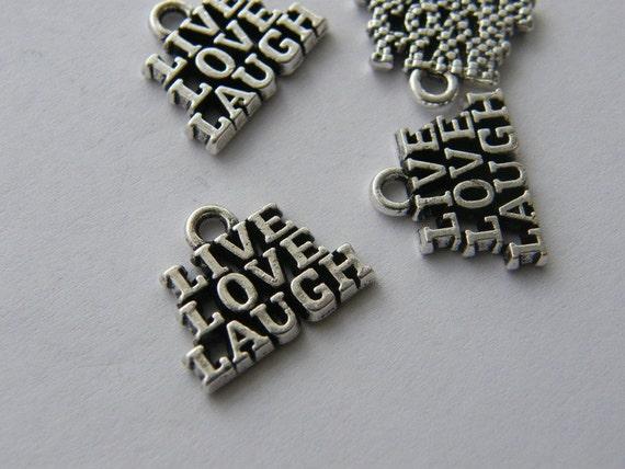 4 Live love laugh charms antique silver tone M617