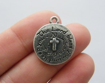 BULK 10 The Lord bless you and keep you charms antique silver tone R99