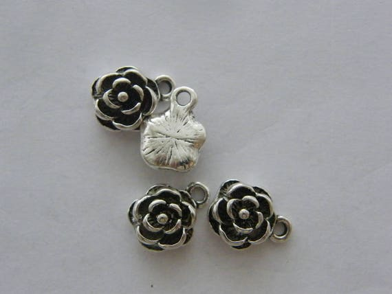 6 Rose charms antique silver tone F80
