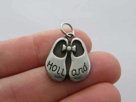 1 Holland clog charm dark silver tone stainless steel WT185