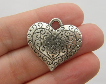 4 Heart pendants antique silver tone H51