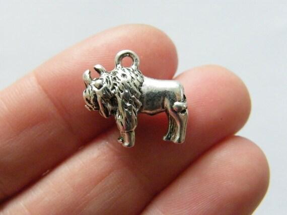 BULK 20 Buffalo charms antique silver tone A1080