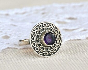 Vintage amethyst ring,  sterling silver filigree ring,  halo ring, February birthstone, amethyst jewelry