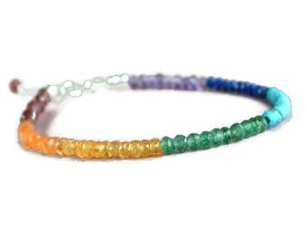 7 chakra bracelet, meditation bracelet, healing jewelry, rainbow gemstone bracelet, sterling silver