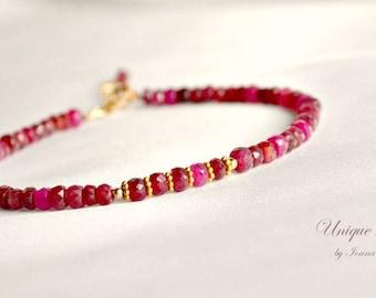 Gold ruby bracelet, stacking bracelet, July birthstone, red bracelet, ruby jewelry, Valentine's gift