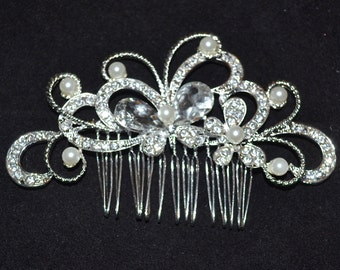 Wedding hair comb, bridal hair comb, wedding rhinestone hair comb, crystal comb, wedding headpiece, wedding comb, Pearl comb