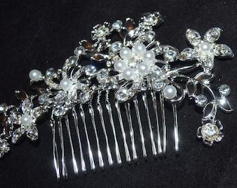 Crystal and Pearl Wedding hair comb, bridal hair comb, wedding rhinestone hair comb, crystal comb, wedding headpiece, wedding comb