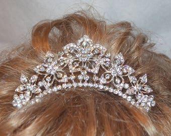 Silver Rhinestone Wedding Tiara, Royal bride, Bridal Crown, Gold Princess Crown, Princess Tiara, Silver Bridal Tiara, Tiara, Silver Crown