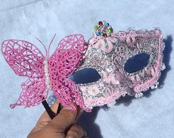 Pink and Silver Masquerade Bridal Mask, Mascarade mask, Pink mask, lace mask, mardi gras, costume, sweet 16, homecoming, halloween mask,