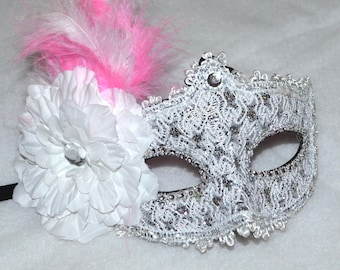 Pink , White and Silver Masquerade Bridal Mask, Mascarade mask, Pink mask, lace mask, mardi gras, costume, sweet 16, homecoming, halloween