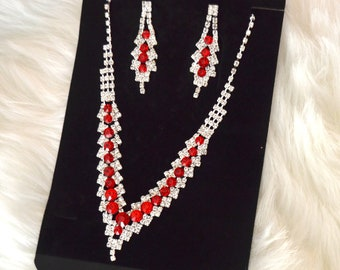 Wedding jewelry set ,bridesmaid jewelry set, Bridal necklace earrings, Red crystal jewelry set, sweet sixteen, Prom jewelry set