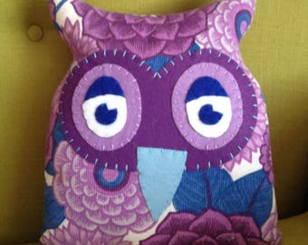 Handmade owl cushion made from an original vintage fabric