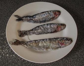 Trio of Sardines textile artwork