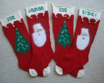 Personalized Hand Knit Christmas Stocking Extra Large Size - Heirloom Pattern Knit of Peruvian Wool - 2018 DELIVERY - shipping included