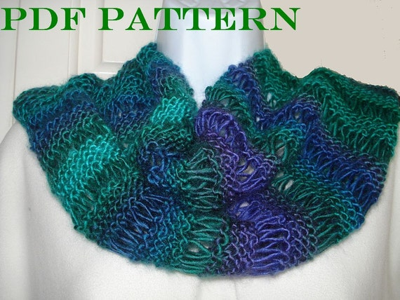 Knit Infinity Scarf Pdf Pattern For Scarf Or Cowl Of Dk Or Etsy
