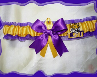 47386e6fc153 SALE LSU Purple Organza Ribbon Wedding Garter Toss