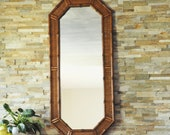1 Vtg LARGE Tall Bamboo Wall Mirror-Octagon Mirror-Palm Beach Rattan Decorator Mirror