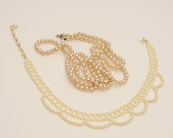 8502f6c40 Vintage LOT of 3 Faux Pearl Necklaces-Long, Mesh Choker, Single Strand Faux  Pearls-Flapper Pearls