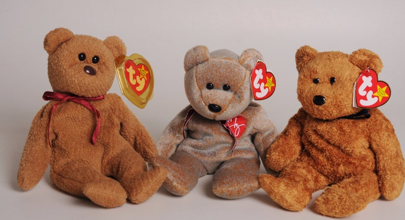 503ac3323fb LOT 3 Ty Beanie Babies Bears-Curly Fuzz   1999 Signature-With