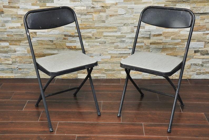 Brilliant Set Of 2 Vintage Samsonite Metal Folding Chairs Black W Grey Vinyl Pair Chairs Cjindustries Chair Design For Home Cjindustriesco