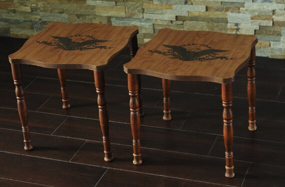 Enjoyable Sale 2 American Eagle Mcm Stacking Tables Colonial Style Patriotic Eagle End Tables Ocoug Best Dining Table And Chair Ideas Images Ocougorg