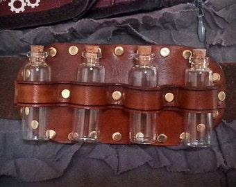 Steampunk Apothecary Belt Slider, leather belt, steampunk accessory, costume accessory, steampunk cosplay, steampunk bottles, bottle holder