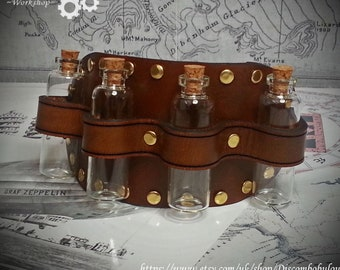 Steampunk Leather Sleeve Garter with bottles, steampunk accessory, costume accessory, cosplay, steampunk bottles, dnd, larp, rpg, apothacery