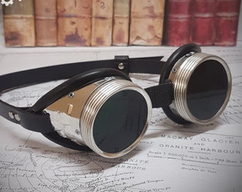 a041dfd346dd Steampunk goggles with real leather strap and choice of coloured lenses