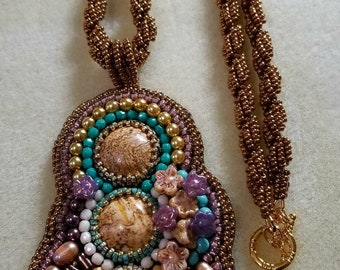 Bead embroidered jasper pendant necklace