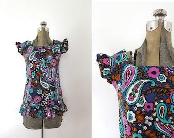4a02d0f80e72bf Vintage 1960s Barkcloth Blouse / 1960s 60s Psychedelic Print Paisley Floral  Print Barkcloth Ruffle Blouse