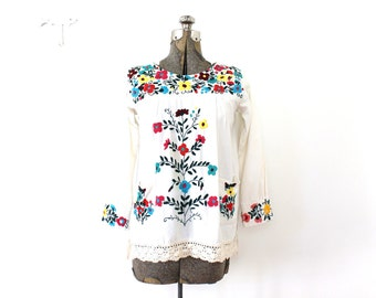 70s Boho Tunic / 1970s Floral Embroidered Mexican Tunic