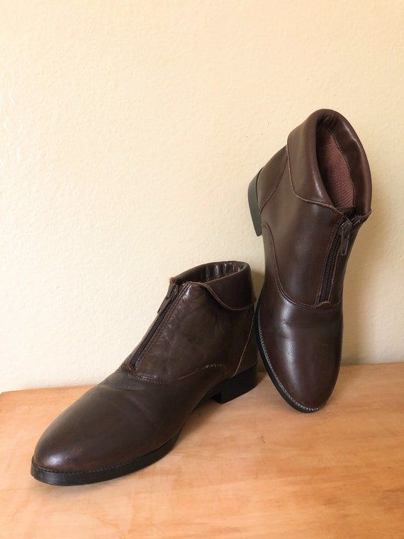 90s Ankle Boots / 1990s Brown Leather Zip-Up Ankl… - image 4