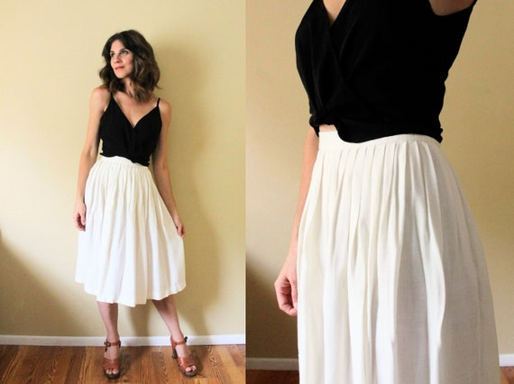 Vintage Ivory White Linen Skirt / 80s Pleated Whit