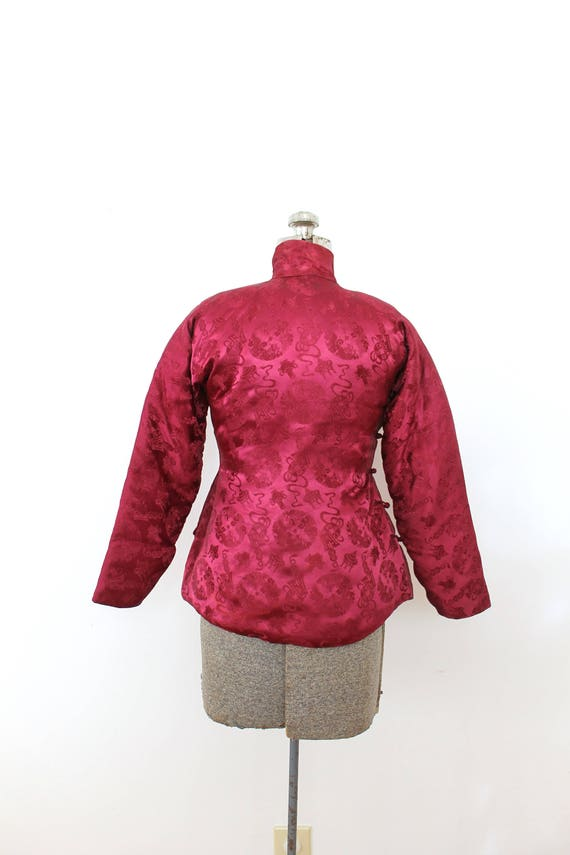 1940s Brocade Jacket / 1940s 40s Cranberry Red As… - image 5