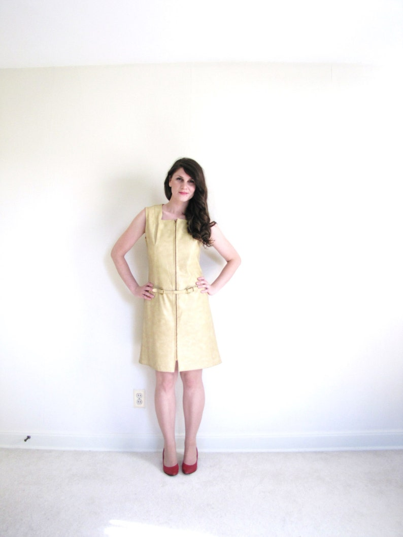 60s Faux Leather Dress  60 gogo Dress  1960s Pleather Dress