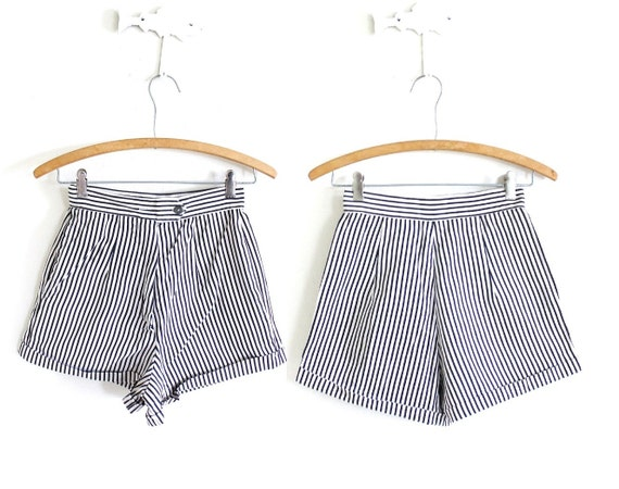 50s Shorts / 1950s High Waisted Shorts / 50s Strip