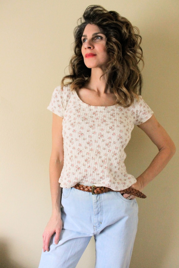 1990s Floral Babydoll Shirt / 1990s 90s Creamy Whi