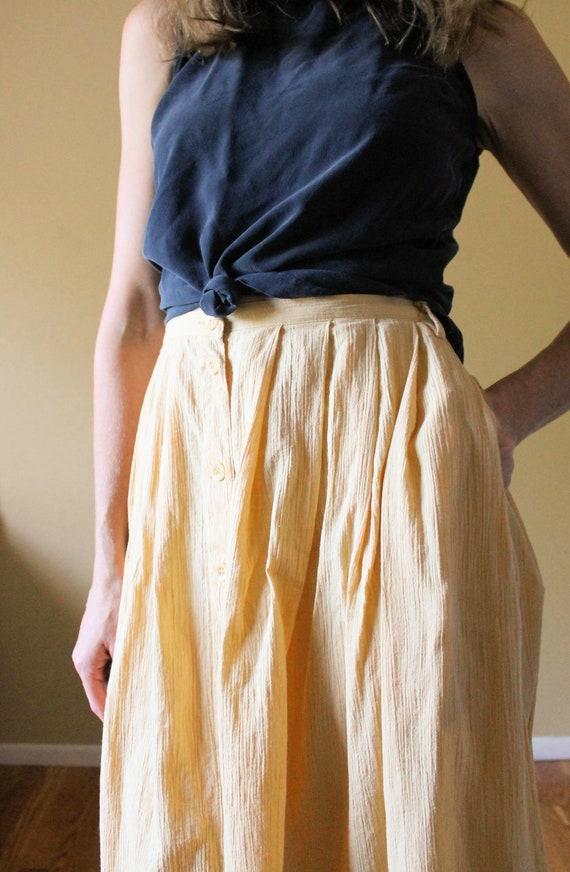Vintage Button Up Gauze Skirt / 1990s Skirt / 90s… - image 3