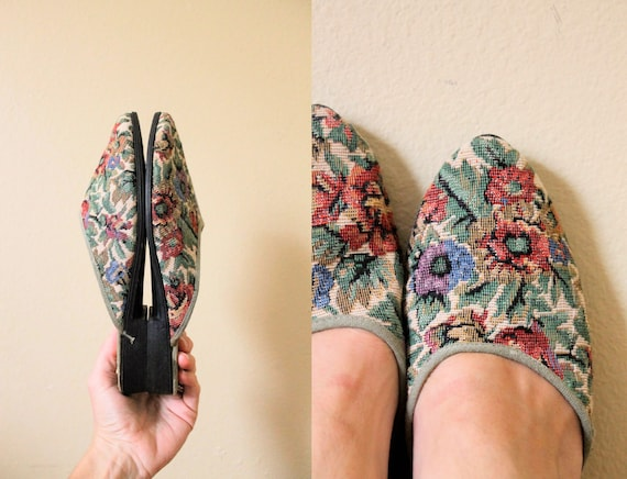 1990s Tapestry Mules / 90s Mules / 1990s Slide On