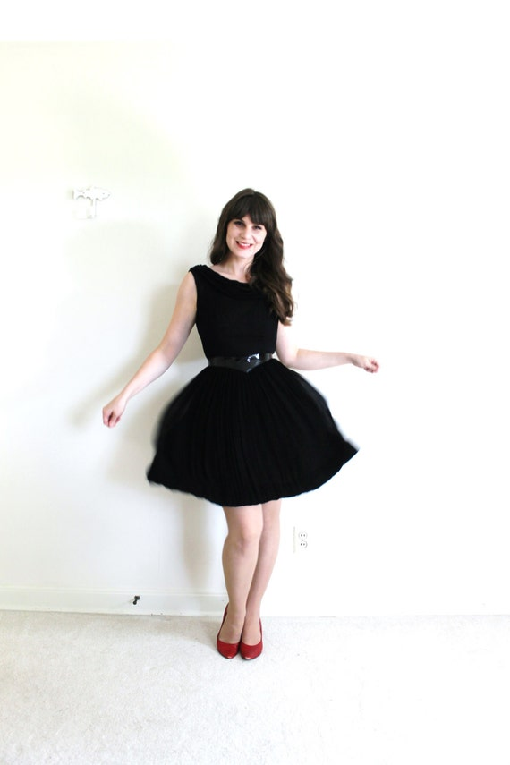 1950s Dress / 50s Dress / 50s 60s Black Chiffon C… - image 3
