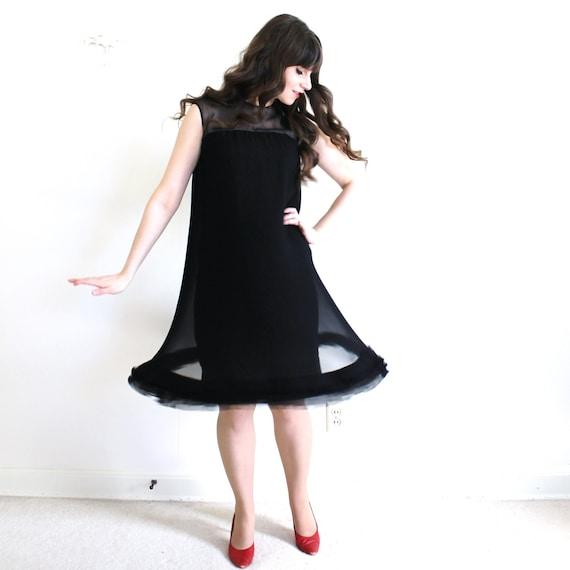 60s Dress / 1960s Black Cocktail Dress / Black 60… - image 2