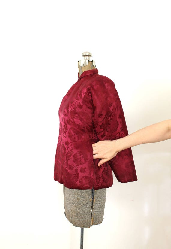 1940s Brocade Jacket / 1940s 40s Cranberry Red As… - image 4