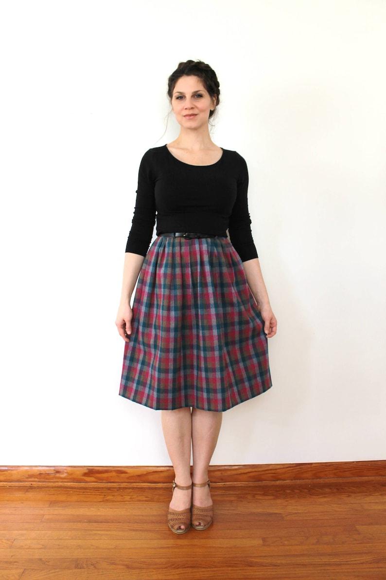 Plaid Wool Skirt  1980s Skirt  80s Skirt  1980s High Waist Colorful Plaid Wool Skirt