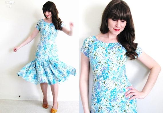 1950s Dress / Floral 50s Dress / 1950s Mermaid Dre