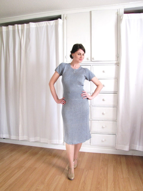 1940s Dress / 40s Knit Dress / Dusty Blue Dress - image 3