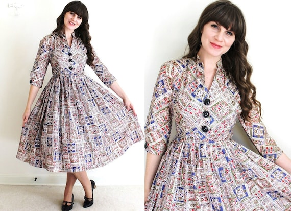 1950s Dress / 50s Dress / 50s Folk Print Full Skir
