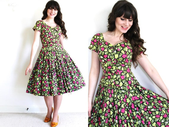 50s Dress / 1950s Dress / 50s Garden Party Full Sk