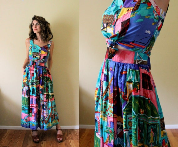 1990s Skirt and Blouse Set / 90s Dress Set / 1990s