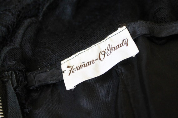 1950s Illusion Neckline Dress / 1950s Black Dress… - image 2