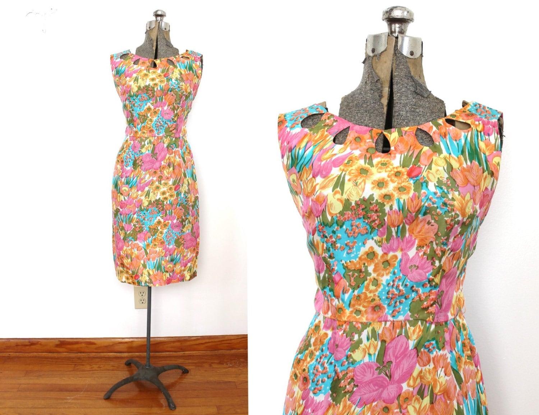 des ann es 60 robe ann es 1960 ann es 1950 tulipe floral etsy. Black Bedroom Furniture Sets. Home Design Ideas